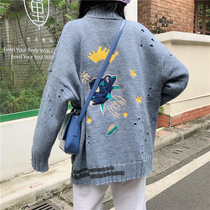 Harajuku Jellyfish Spaceship Knit Cardigans Sweater SE20535