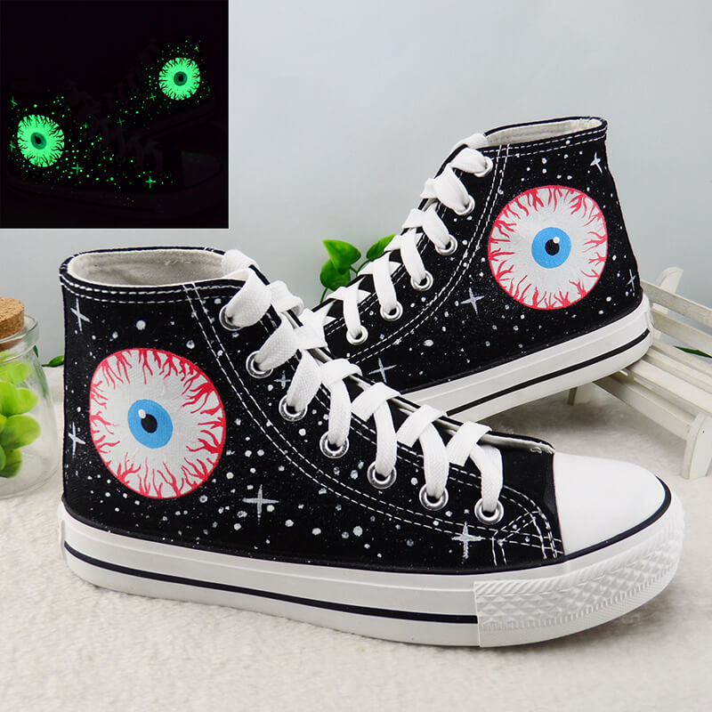 Harajuku Luminous Eyeball Hand Painted Shoes SE20744