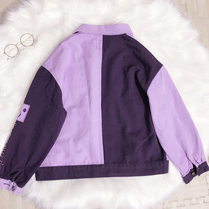 Harajuku Purple Cotton Jacket SE20475