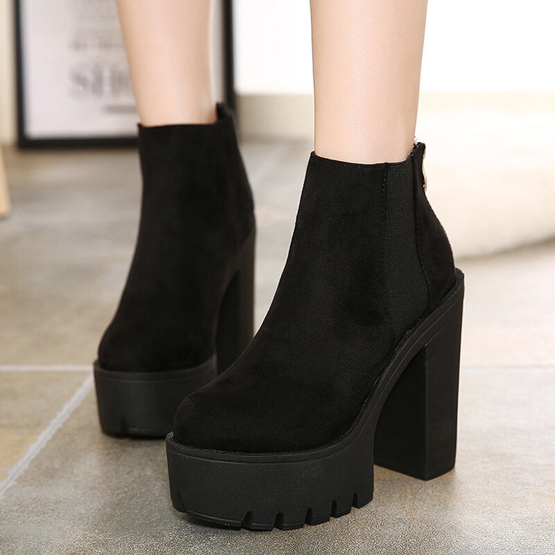 High Heels Flock Platform Shoes SE20810