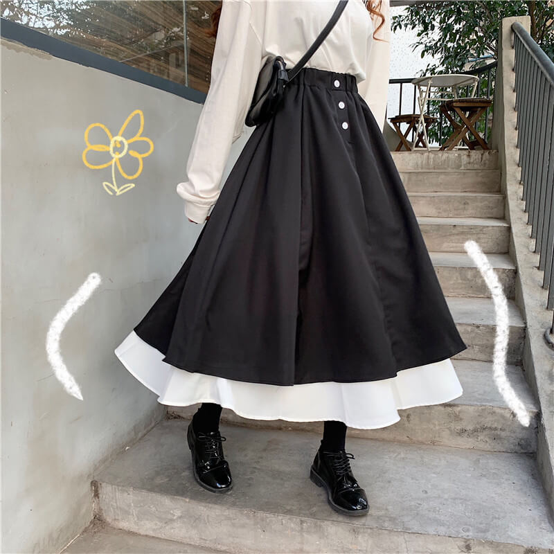 High Waist Black White Skirt SE21053