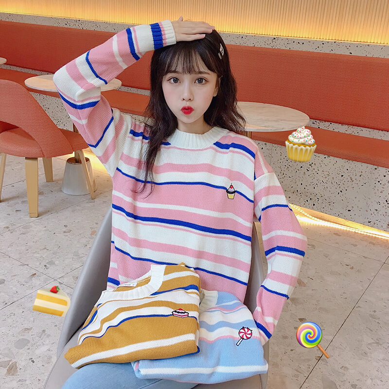 Ice Cream Rainbow Stripe Sweater SE20483