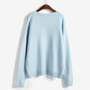 Sweet patch embroidery clouds sweater knit SE8558
