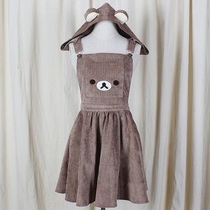 Cute,cartoon,bear,hooded,braces skirt,pocket dress,bear skirt,