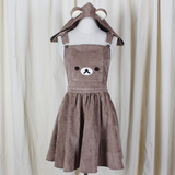 Cute cartoon bear hooded braces skirt