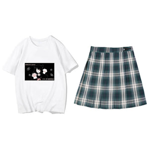JK Student Plaid Pleated Skirt Cat Top Set SE21271