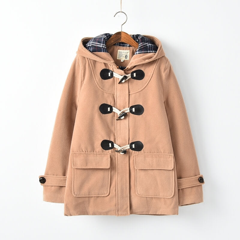 JK Woolen Horn Button Hooded Coat SE21071