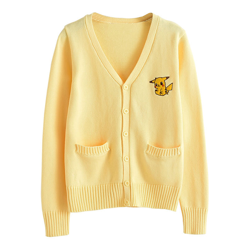 JK Pikachu Embroidered Cardigan Sweater SE20747