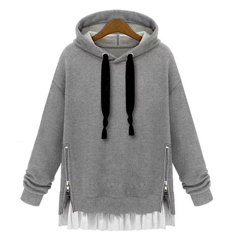 Fashion loose hooded fleece pullover SE4755