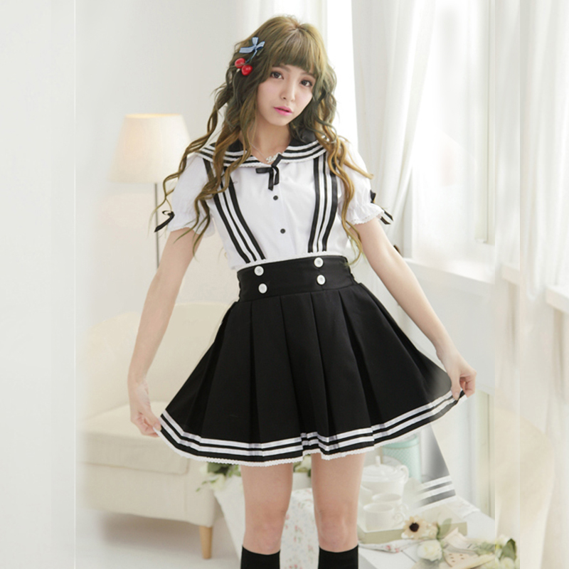 Cute kawaii sailor straps skirt+shirt two-piece