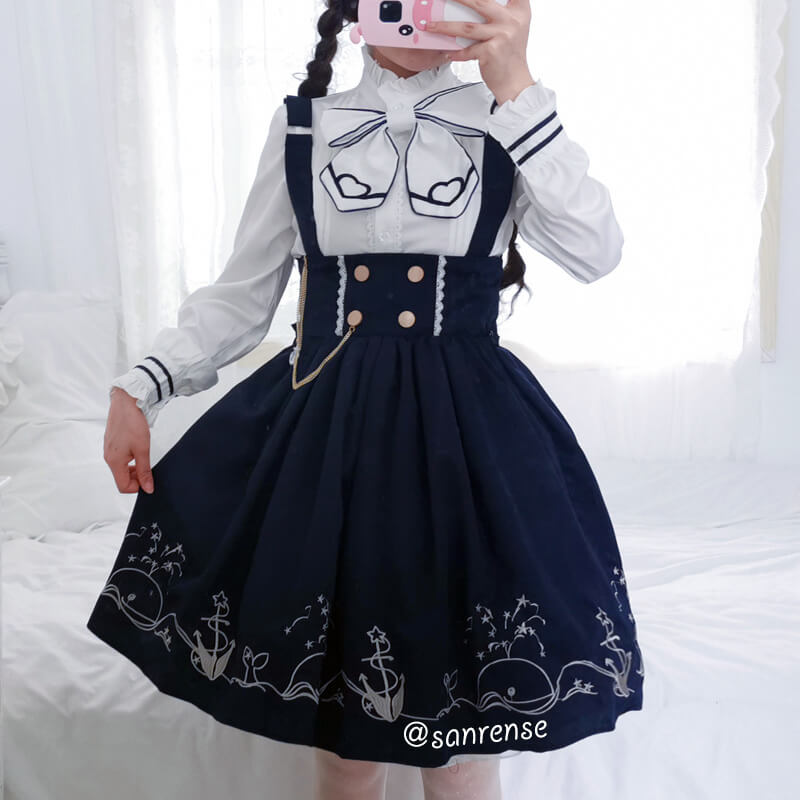 Japanese Anchor Sailor Shirt Skirt Suit SE21063