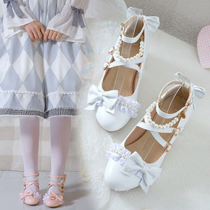 Japanese Bow Pearl Lace Shoes SE21347