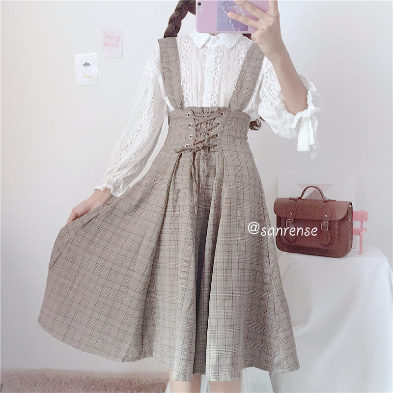 Japanese Bow Shirt Plaid Suspender Dress Suit SE20961