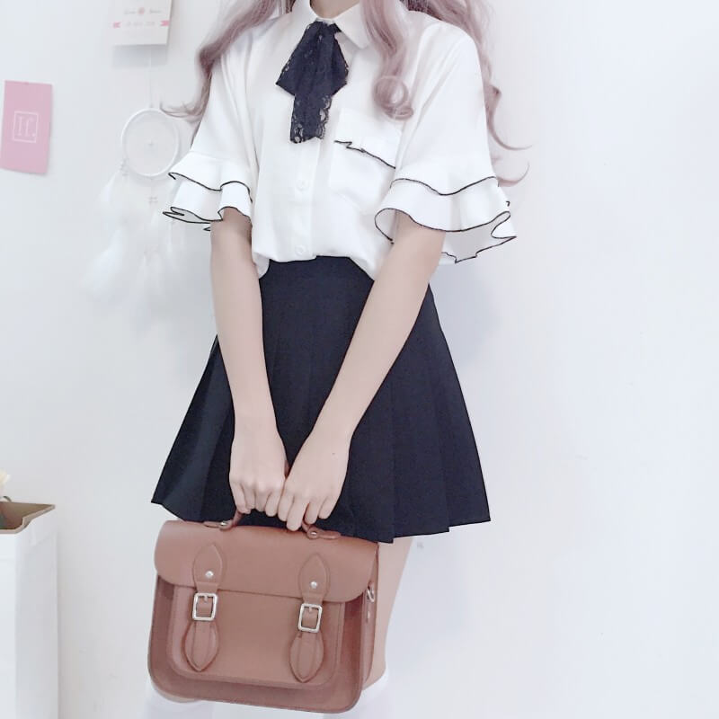 Japanese Bow Shirt Pleated Skirt Suit SE20984