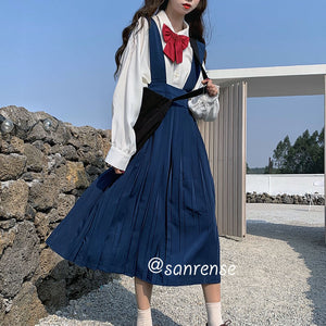 Japanese Bow Shirt Pleated Strap Dress Suit SE20948