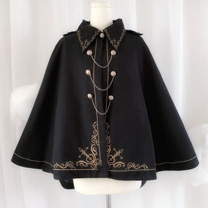 Japanese Embroidered Dovetail Woolen Cape Coat SE20763