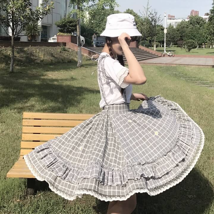 Japanese Grid Blouse Braces Skirt Set SE20969