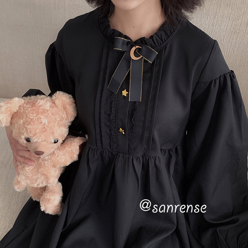 Japanese Lolita Black Ruffles Dress SE20951