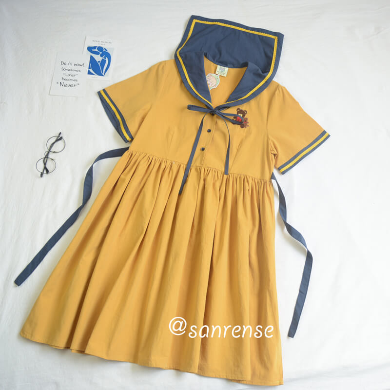 Japanese Navy Bear Dress SE20929