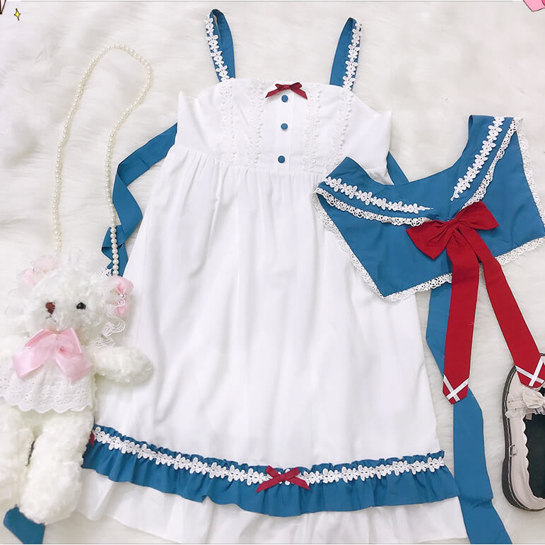 Japanese Navy Bow Lolita Shirt Dress Set SE20878
