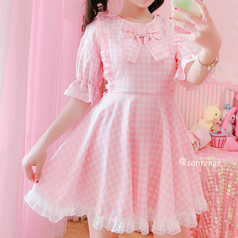 Japanese Pastel Plaid Bow Lace Dress SE21072