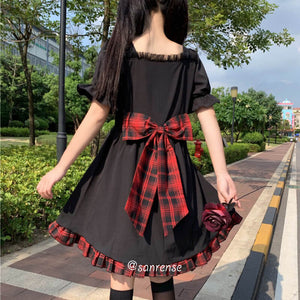 Japanese Plaid Bow Dress SE21025