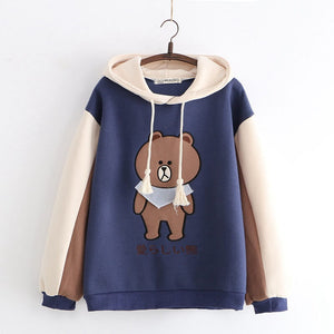 Japanese Bear Embroidered Hoodie SE20754