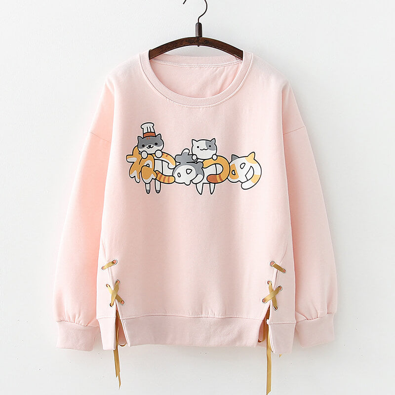 Japanese Cat Pullover Sweatshirt SE20603