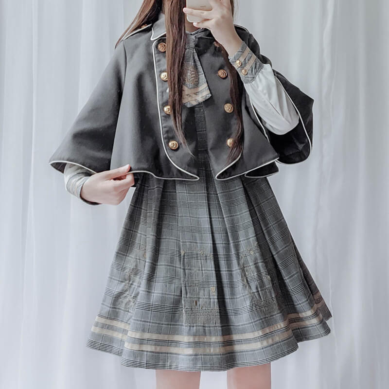 Japanese Embroidered Plaid Dress Woolen Cloak Jacket Set SE20611