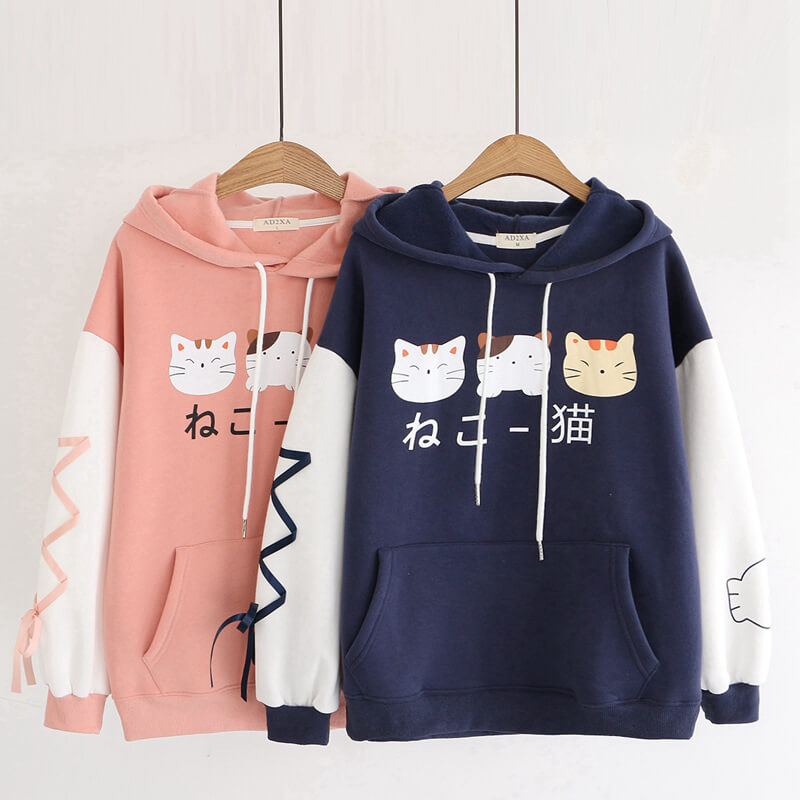 Japanese Kawaii Cat Fleece Hoodie SE20731