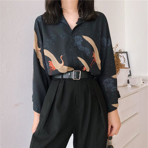 Japanese Kawaii Retro Crane Blouse SE20541