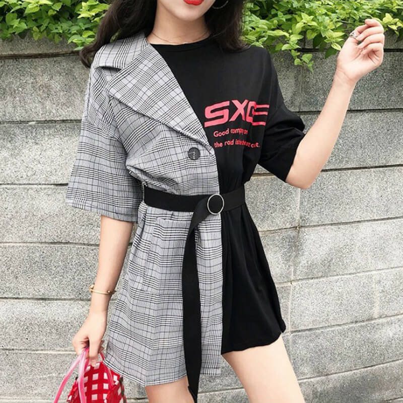 Japanese Lattice Stitching Fake Two Piece Letter Dress SE20692