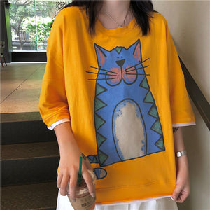 Japanese Loose Cat T-Shirt SE20391