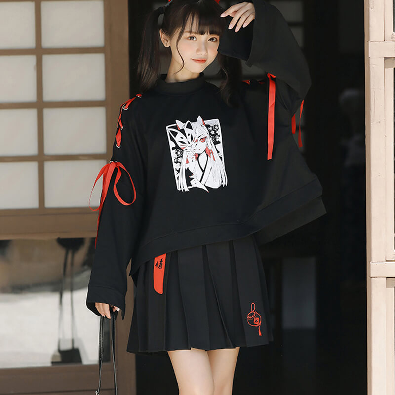 Japanese Monster Fox Sweatshirt Skirt Set SE20776