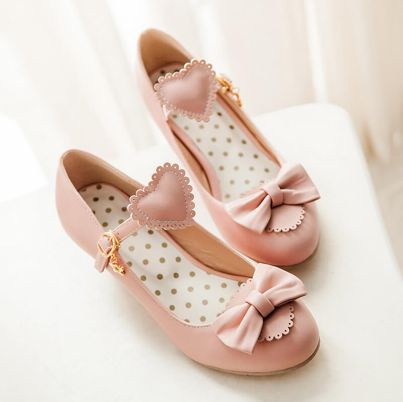 Japanese Peach Heart Bowknot Lolita Shoes SE20720