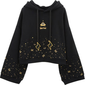 Japanese Planet Space Travel Fleece Hoodie SE20636