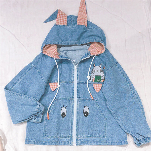 Japanese Rabbit Ear Denim Jacket Hoodie SE20498