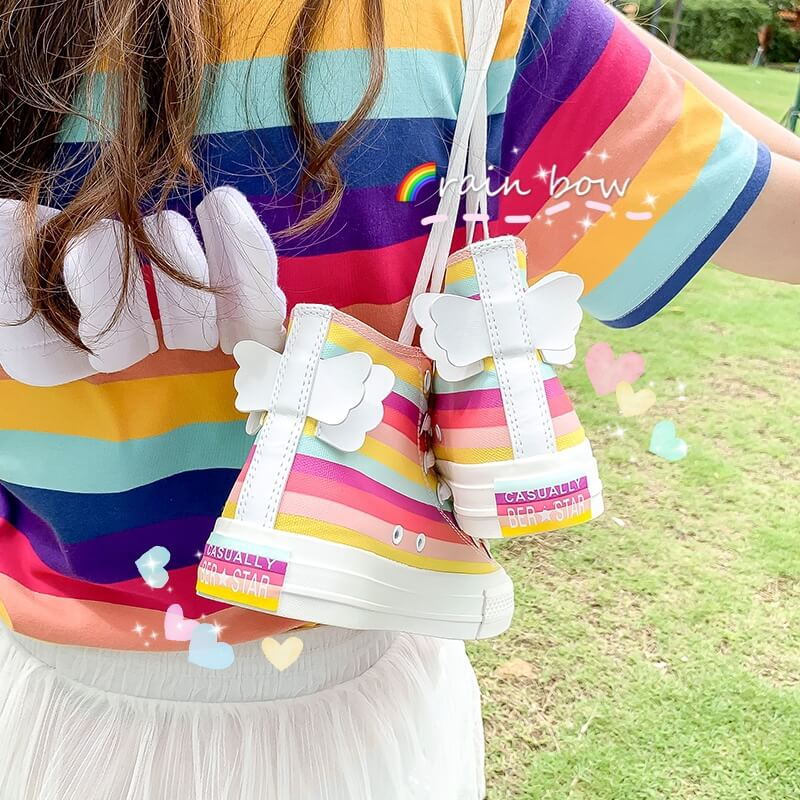 Japanese Rainbow Bow Wings Shoes SE20461