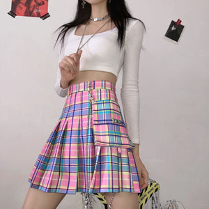 Japanese Rainbow Plaid Skirt SE20518