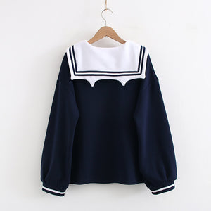 Japanese Sailor Cat Pullover Sweatshirt SE20716