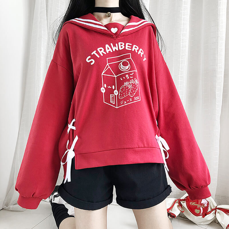 Japanese Sailor Love Strawberry Box Sweatshirt SE20577