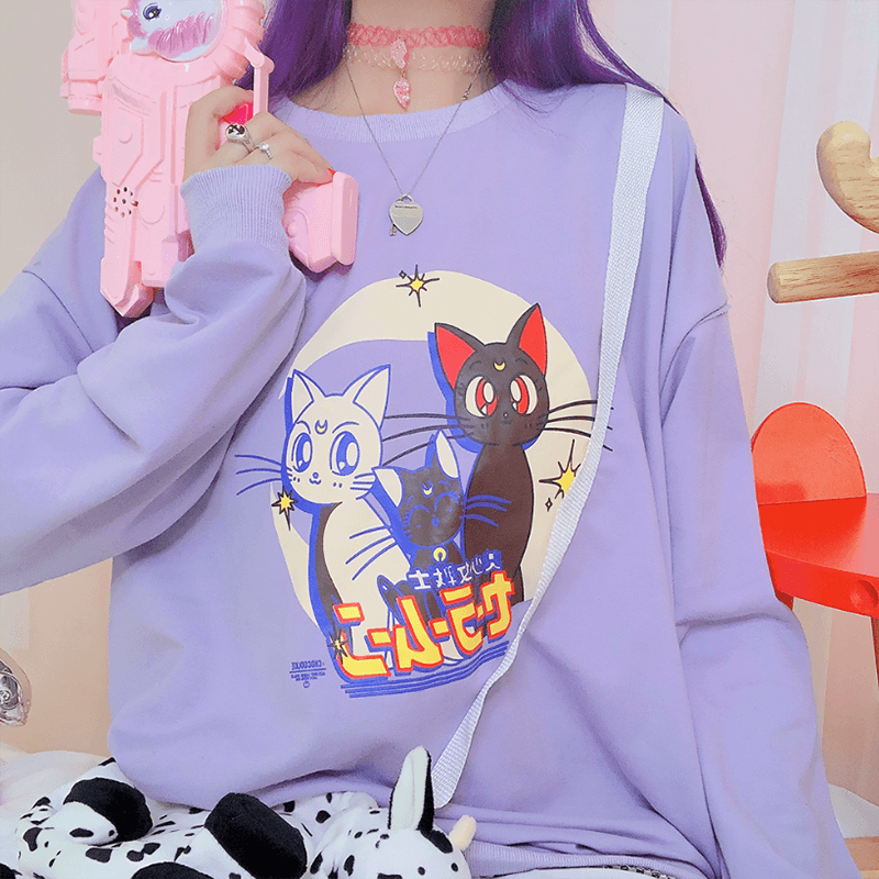 Japanese Sailor Moon Cat Purple Sweatshirt SE20632
