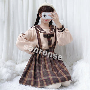 Japanese Sailor Sweatshirt Grid Strap Skirt Suit SE20310