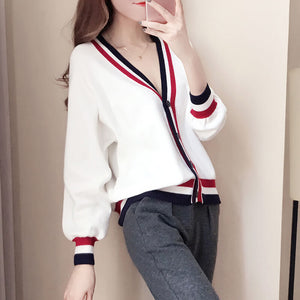 Japanese Striped Knit Cardigan Sweater SE20576