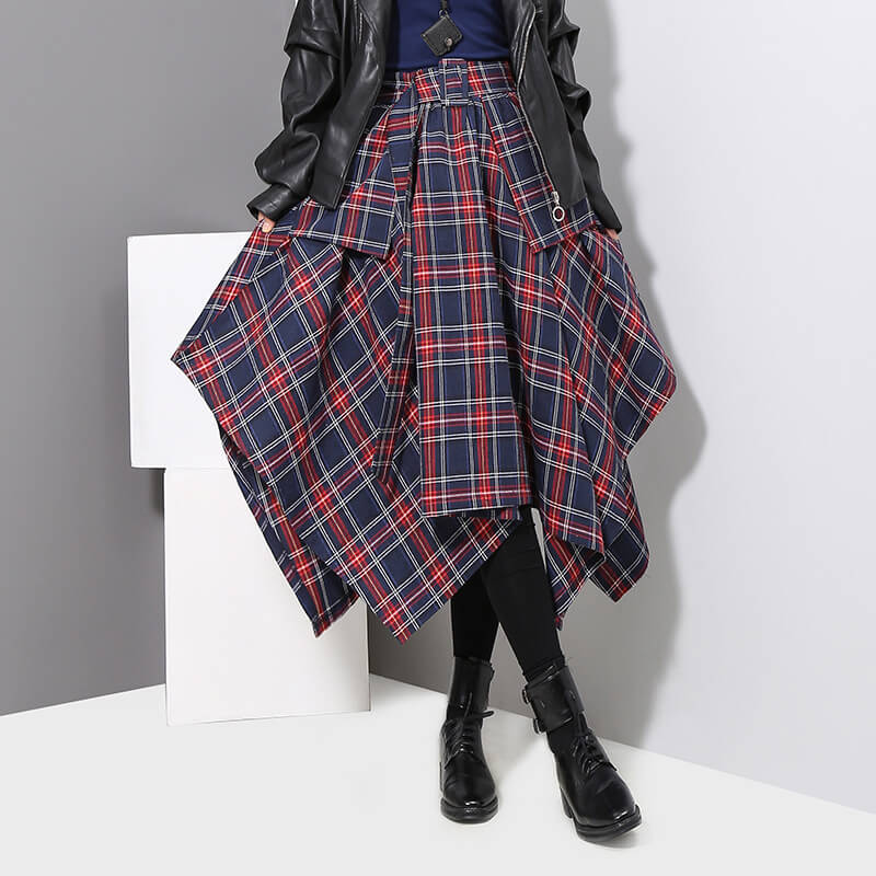 Japanese Striped Plaid High Waist Skirt SE20781