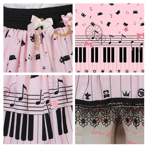 Pink Piano Notes Sweet Skirt SE20629
