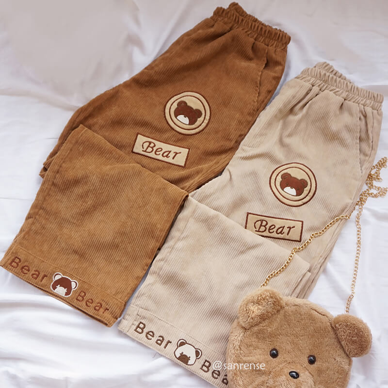 Kawaii Bear Corduroy Pants SE21177