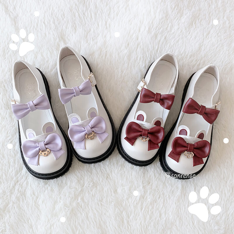 Kawaii Bear Ears Bow Lolita Shoes SE21120