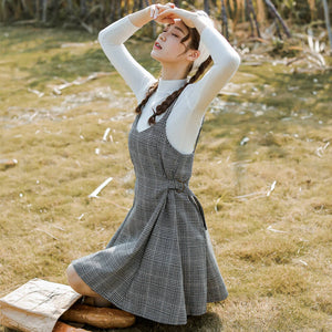 Korean Kawaii Plaid Strap Dress SE20854