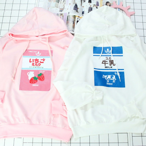 Pink/white strawberry milk printing hoodie pullover SE11093
